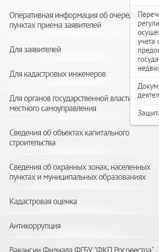 Услуги на сайте ФГБУ ФКП Росреестра