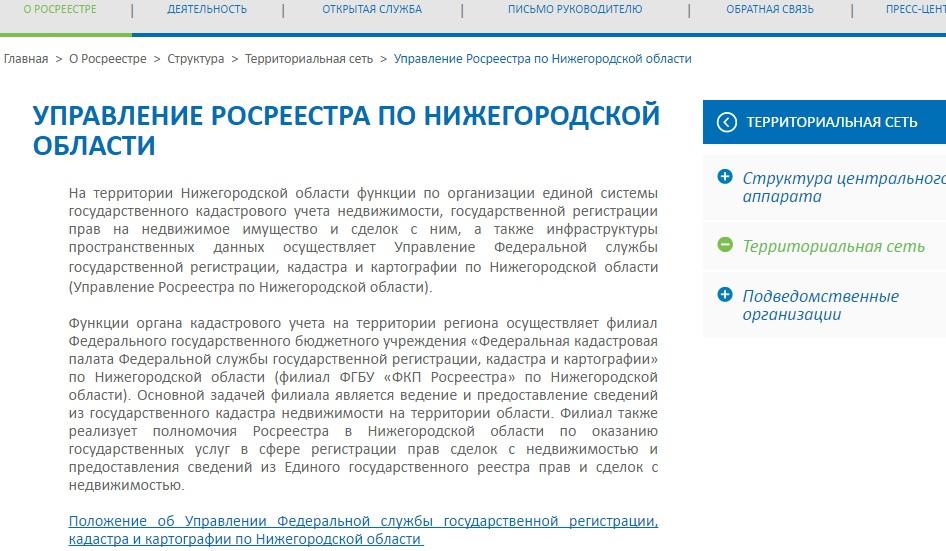 Территориальный округ Росреестр по Нижегородской области