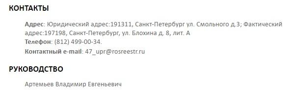 Контакты Росреестра по Ленинградской области