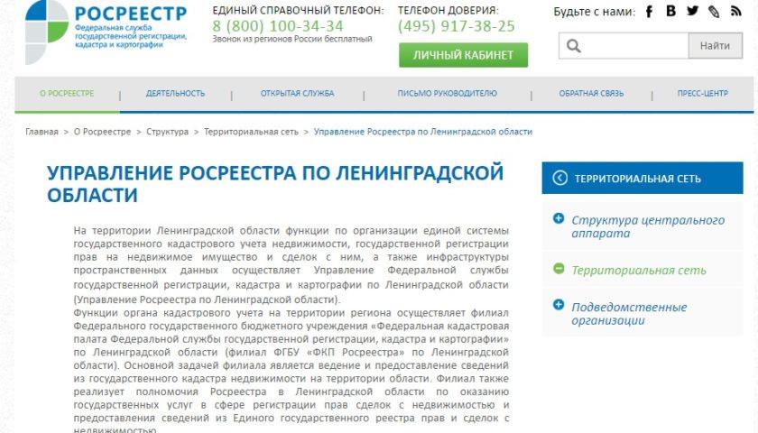 Вид сайта Росреестр по Ленинградской области