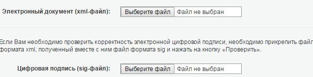 Ввод данных для получения сведений об электронном документе