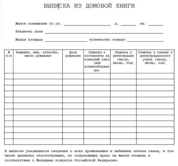 Пакет подаваемых документов - Выписка из домовой книги